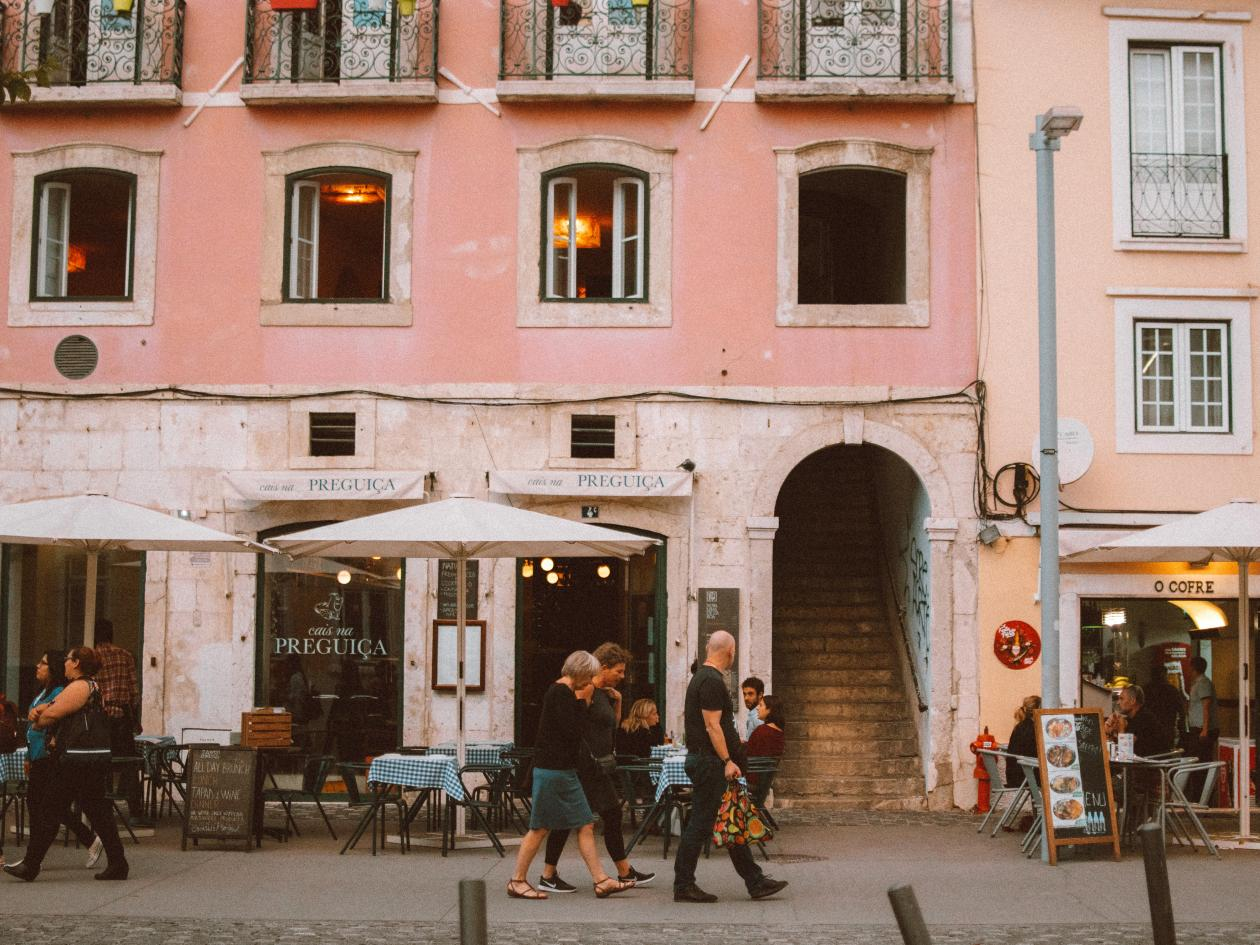 People walking in the street in Portugal